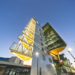 Image of the Adelaide Health and Medical Sciences building, looking from the ground up, showing the striking angular architecture