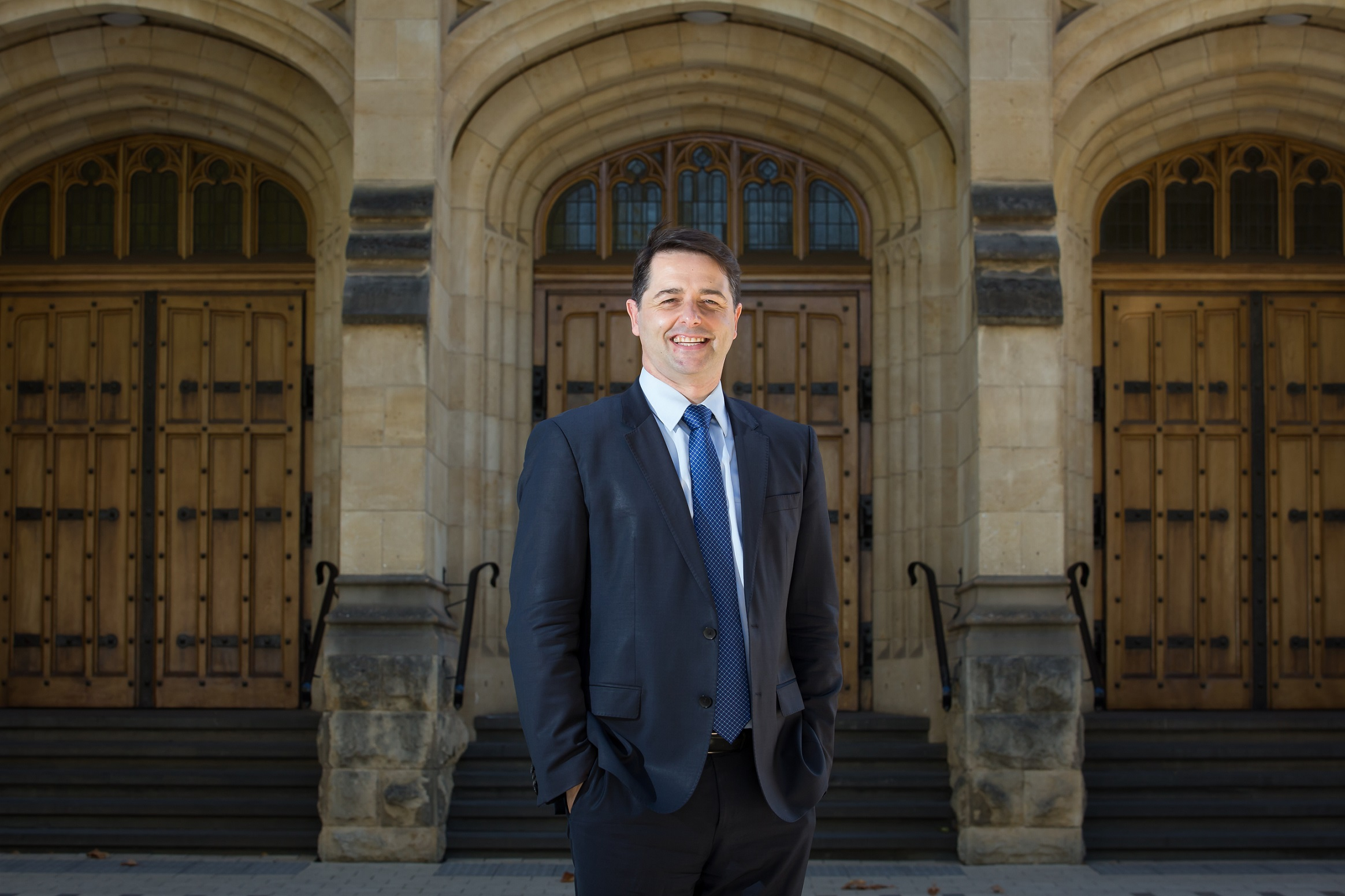 Image of Alastair McEwin on the University grounds