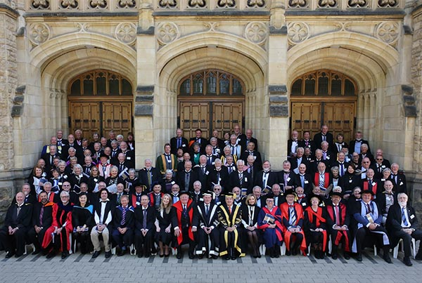 The Class of 1968 in front of Bonython Hall following their Golden Jubilee ceremony.