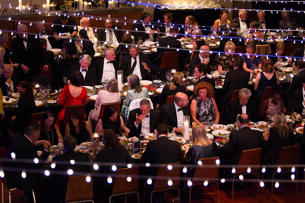 Aerial view of guests seated for the Board of Benefactors' Festum dinner
