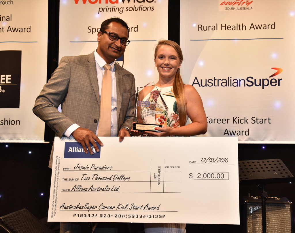 Jasmin (right) was presented her award by Randolph Nevis (left), Business Partnership Manager, AustralianSuper