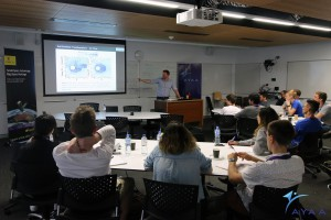 Mr. Christopher Capon, researcher at UNSW Canberra at ADFA, talks to delegates about atmospheric physics
