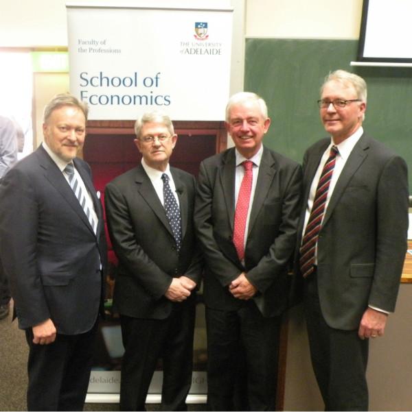 From left: Professor Warren Bebbington, Vice Chancellor, Professor Bruce Chapman, Mr Peter Fisher and Professor Paul Kerrin.