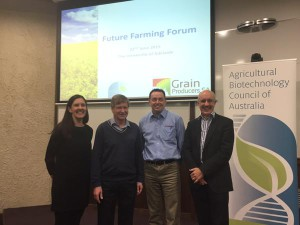 Heather Bray with co-presenters at the Future Farming Forum. Photo courtesy of Deanna Lush
