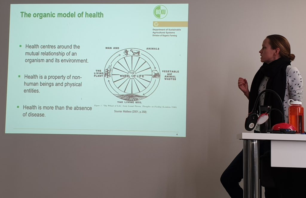 Rebecca presenting with slide on holistic model of health