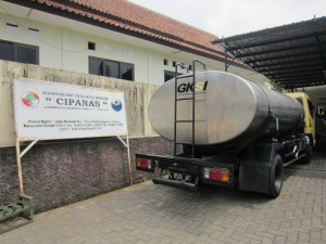 Milk truck in West Java, Indonesia