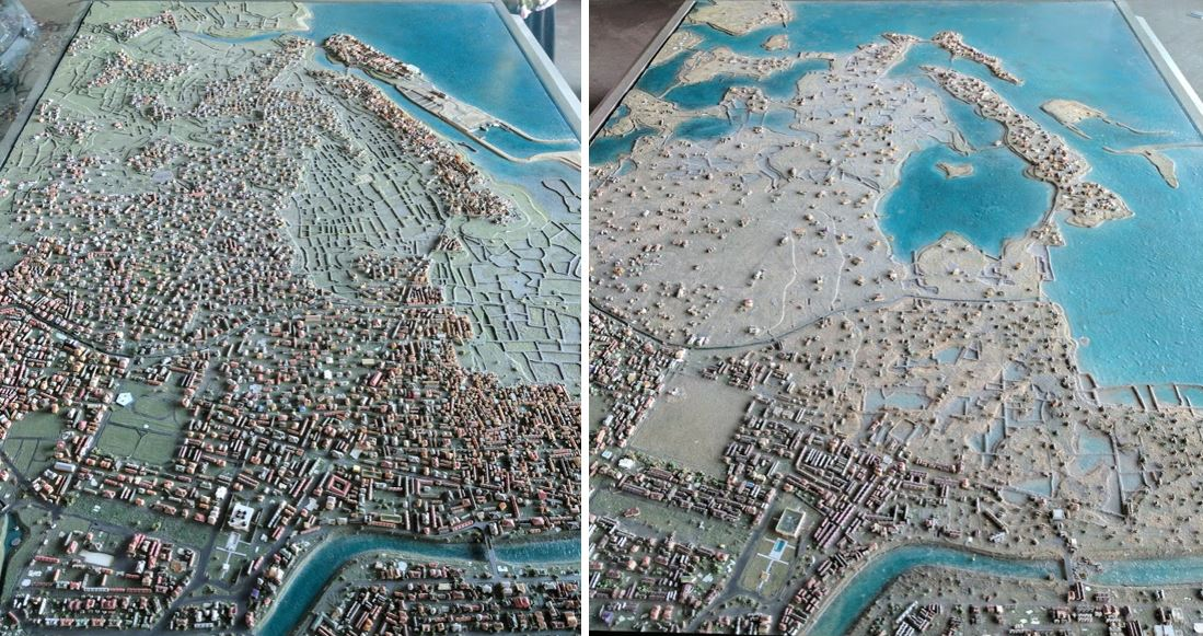 A model of Banda Aceh before and after the 2004 tsunami event