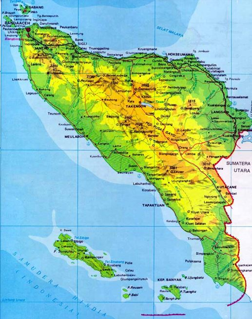 Map of Aceh Province