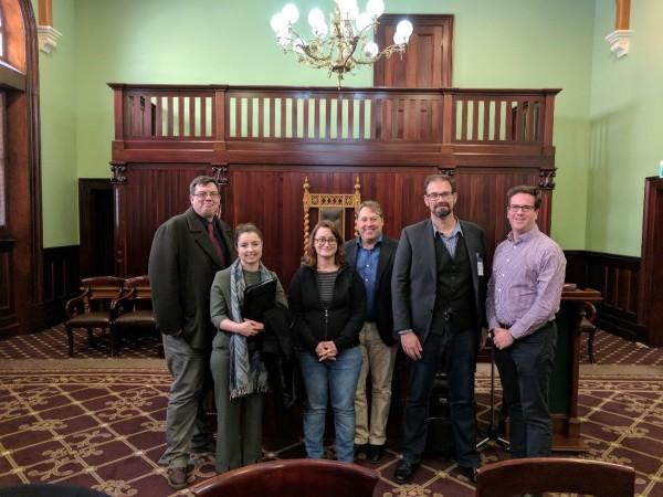 L-R: Dr Adamson, Assoc. Prof Wheeler, Hon. Justine Keay, Hon. Rick Wilson, Dr Loch and Hon. Matt Keogh