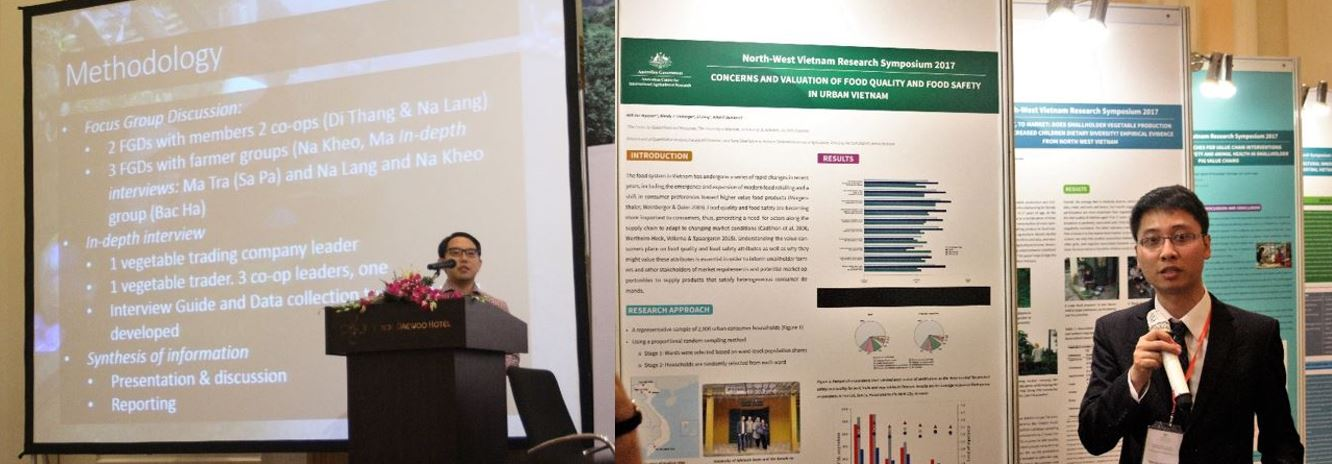 "Left: Dr Dale Yi gave an overview of smallholder participation in vegetable value-chains in north-west Vietnam. Right: Anh Duc Nguyen, a PhD student with GFAR and Lecturer at the Vietnam National University of Agriculture (VNUA) presented a poster ""Concerns and valuations of food quality and food safety in urban Vietnam""."