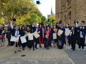 GFAR Master's graduates with Prof. Wendy Umberger and Dr. Alexandra Peralta