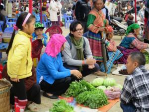 "Australian Vietnamese chef Luke Nguyen at the Sunday market in Bac Ha, Vietnam making the film ""Supporting Women's Economic Empowerment in Vietnam - ACIAR Project""."