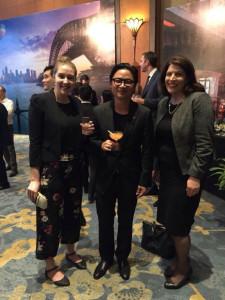 Nikki Dumbrell (left) and Wendy Umberger (right) with Taste of Australia ambassador Luke Nguyen.