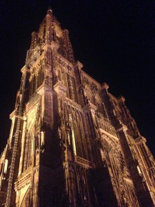 The Cathedral Notre Dame de Strasbourg at night