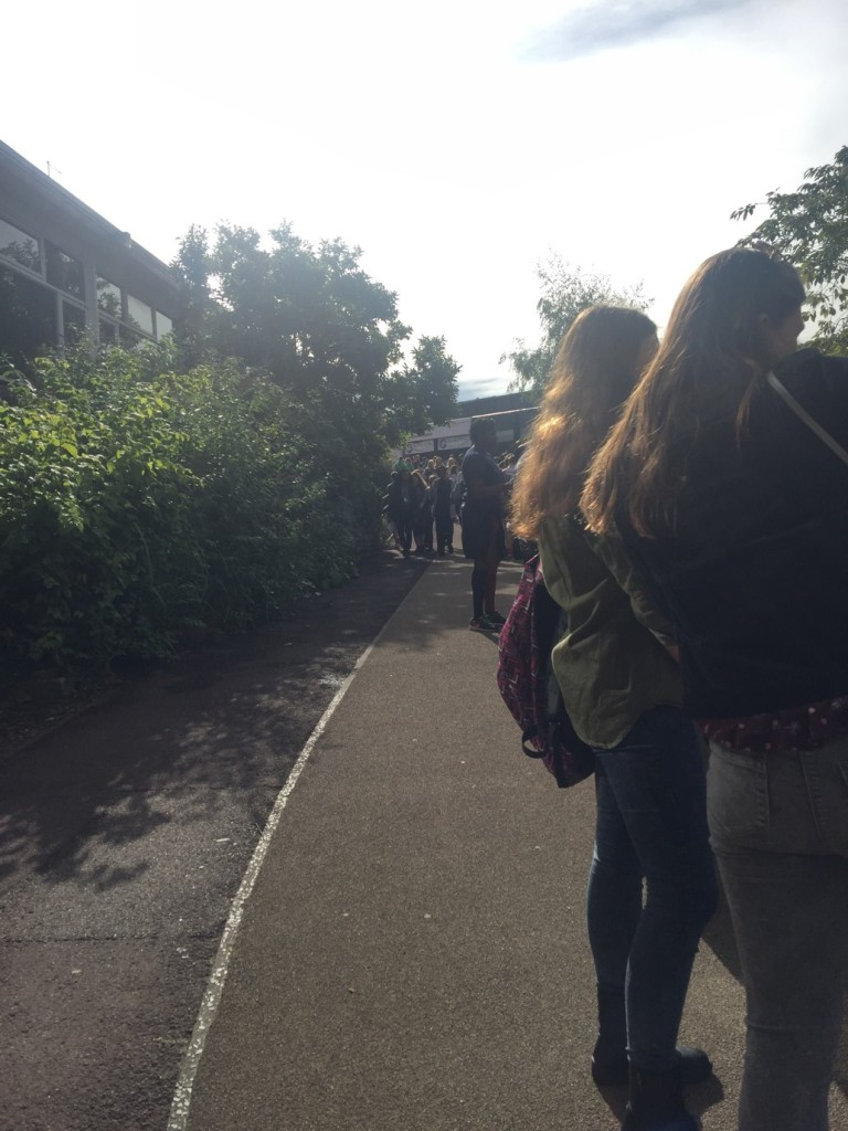The British Tradition: Queuing in long lines at Freshers Week