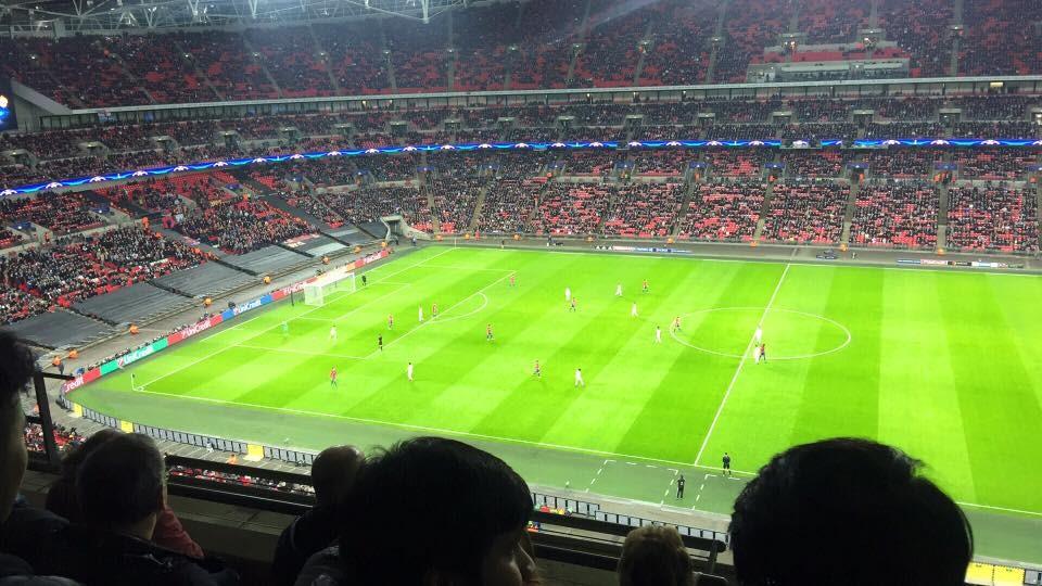 At Wembley Stadium watching a Tottenham Hotspurs game.