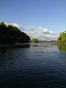 Canoeing on the lake next to McMaster