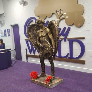 A person dressed up as Cupid at Cadbury World.