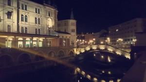 The Triple Bridge in the main square of Ljubljana city centre.