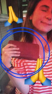Gina Cameron and her wallet