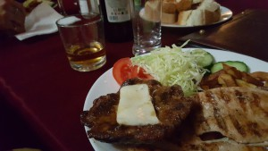 Meal with meat and salad
