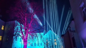 Pink tree and blue lights at the Zagreb Festival of Lights 2017
