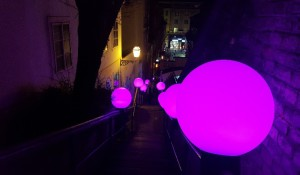 Pink orbs on stairs at the Zagreb Festival of Lights 2017