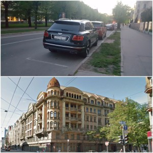 One of the many Russian plate Bentleys and the Former Building of the KGB, Riga