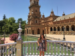 Me in front of the Plaza de Espana in Seville. I awkwardly asked a tourist to take this photo. Most of my photos from Spain look like this.