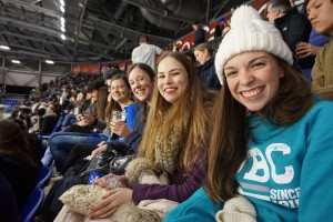 At an ice hockey game with fellow Australian exchange students
