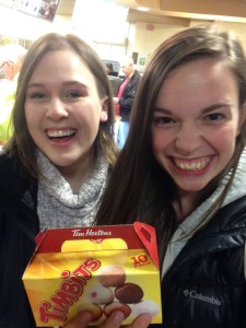 Eating Tim Hortons with Canadian friends