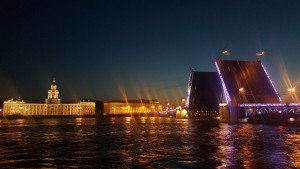 The Palace Bridge drawn in the middle of a white night, Saint Petersburg