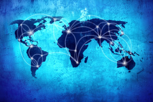 Background image with world map and connection linesBackground image with world map and connection lines