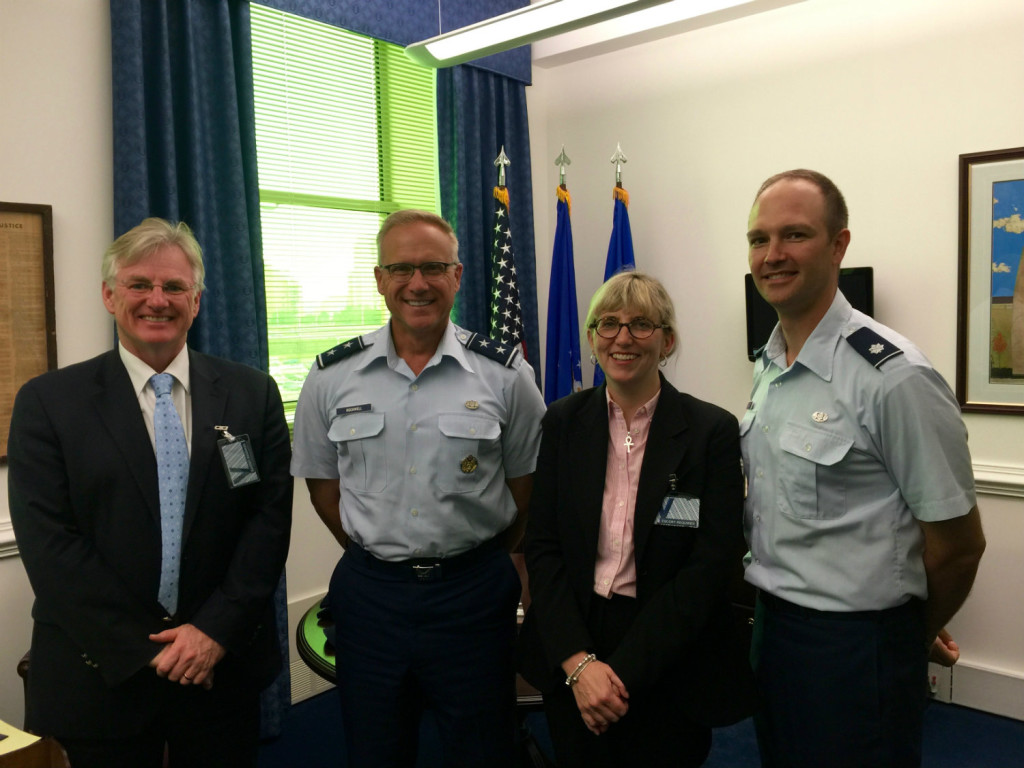 Associate Professor Dale Stephens, Major General Jeffrey Rockwell, Professor Melissa de Zwart and Lieutenant Colonel Matt King (from left to right).