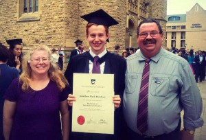 Jonathon and parents Brenton and Lynelle at the graduation ceremony