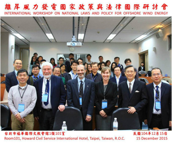Dr Alex Wawryk, front row, third from the right, between Prof Jeremy Firestone (left) and Prof Nien-Tsu Hu, Director of GIMA, National Sun Yat-sen University (right). Other speakers at the Workshop included (front row, left to right) Prof Chau-Chang Wang, Associate Dean of the College of Marine Sciences, National Sun Yat-sen University; Assoc Prof David Fluharty; Assoc Prof Anton Ming-Zhi Gao, Institute of Law for Science and Technology, National Tsing Hua University, Taiwan; and Assistant Professor Shih-Ming Kao, GIMA, National Sun Yat-sen University (1st left, second row).