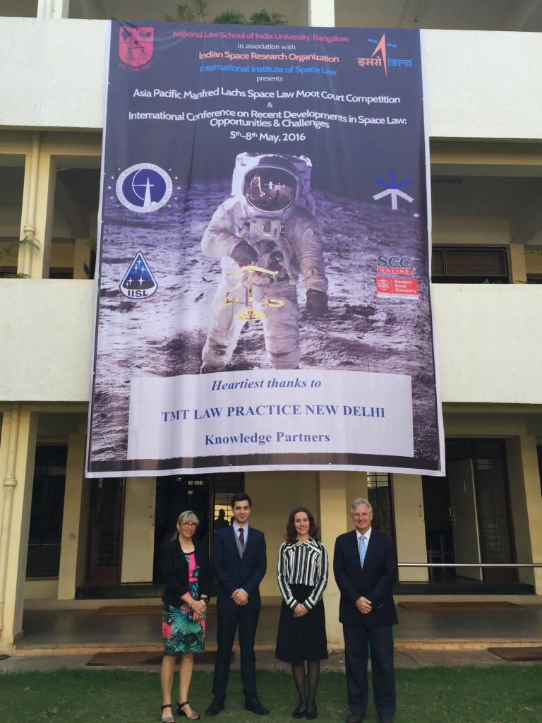 Professor Melissa de Zwart, Mr Greg Reynolds, Ms Yvonne Whittaker-Rush and Associate Professor Dale Stephens in Bangalore India, at Manfred Lachs Space Law Moot and Conference