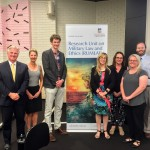 RUMLAE public lecture on Law as a Weapon delivered by Canadian scholar, Mr Ryder McKeown (from L to R): A/Prof Dale Stephens, Dr Colette Langos, Mr Ryder McKeown, Prof Melissa de Zwart, Ms Kellie Toole, Ms Stacey Henderson, A/Prof Matthew Stubbs