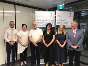 Left to Right: A/Prof Lorne Neudorf, Ms Jaime Royals, Prof Ron Arkin, A/Prof Bernadette Richards, Prof Melissa de Zwart, Prof Dale Stephens