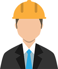 Man in suit wearing hard hat