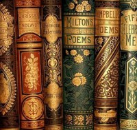Picture of Victorian book bindings.