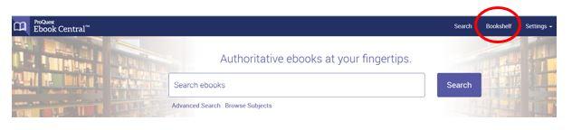 Ebook Central bookshelf