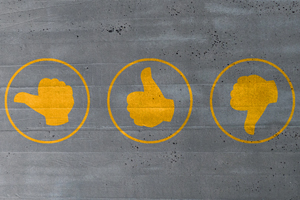 Picture showing thumbs up, thumbs down and neutral thumb icons.