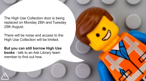 Lego man announcing building works.