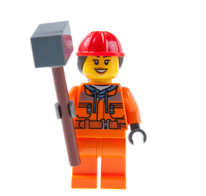 Lego figure holding a big mallet