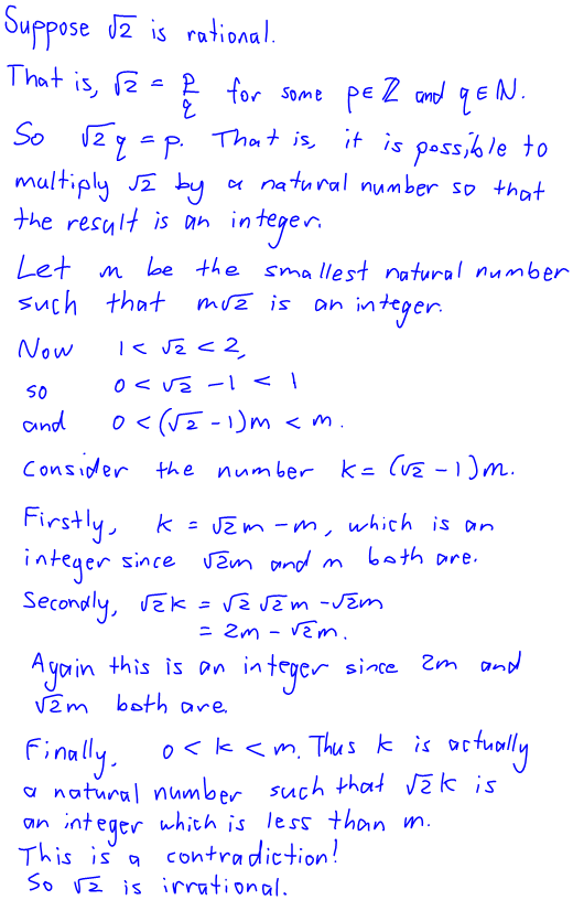 A really different proof that root 2 is irrational
