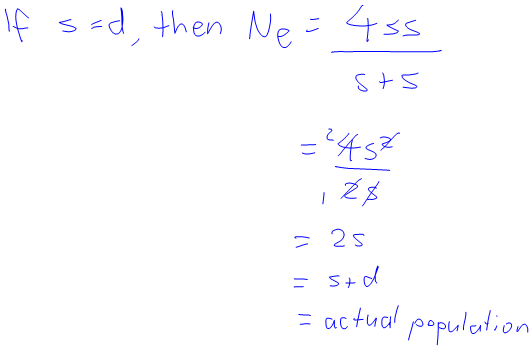 If s=d, then N_e = (4s^2)/(2s) = 2s = s+d = actual population size]
