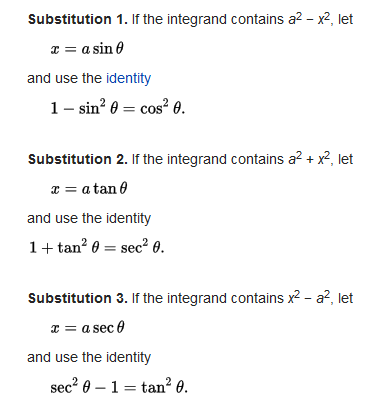 From Wikipedia https://en.wikipedia.org/wiki/Trigonometric_substitution