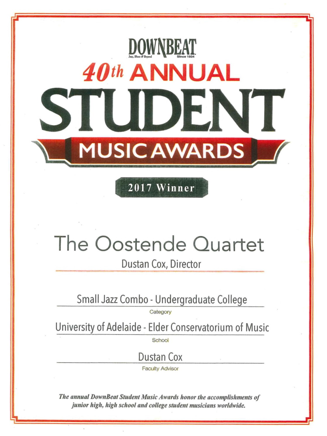 Jazz Students Recognised at Downbeat's 40th Annual Student