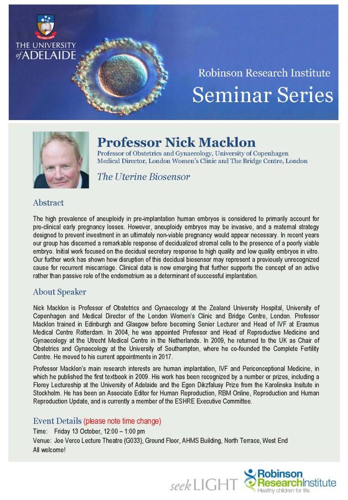 RRI Seminar Flyer - Prof Nick Macklon
